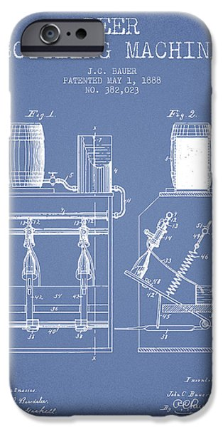 Wine Bottle iPhone Cases - 1888 Beer Bottling Machine patent - Light Blue iPhone Case by Aged Pixel