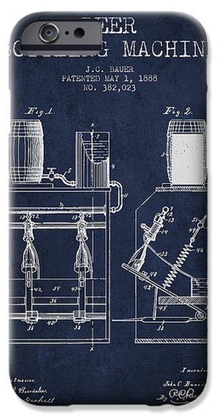 Wine Bottle iPhone Cases - 1888 Beer Bottling Machine patent - Navy Blue iPhone Case by Aged Pixel