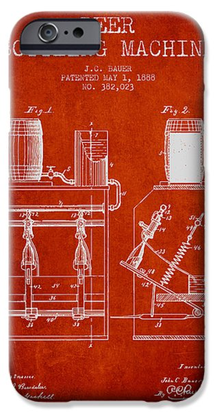 Wine Bottle iPhone Cases - 1888 Beer Bottling Machine patent - Red iPhone Case by Aged Pixel