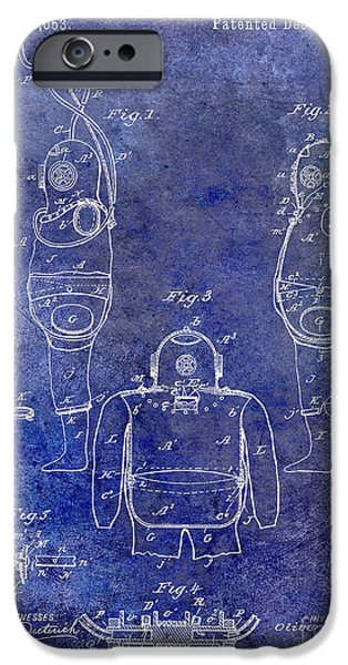 1871 iPhone Cases - 1889 Diving Apparatus Blue iPhone Case by Jon Neidert