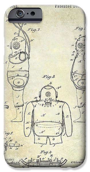 1871 iPhone Cases - 1889 Diving Apparatus  iPhone Case by Jon Neidert