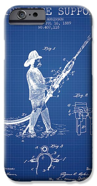 Gear iPhone Cases - 1889 Fire Hose Support Patent - blueprint iPhone Case by Aged Pixel