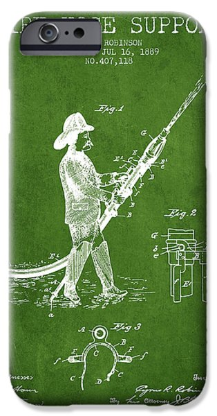 Gear iPhone Cases - 1889 Fire Hose Support Patent - green iPhone Case by Aged Pixel