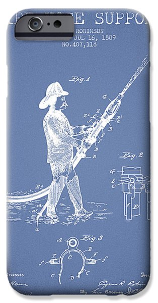 Gear iPhone Cases - 1889 Fire Hose Support Patent - light blue iPhone Case by Aged Pixel