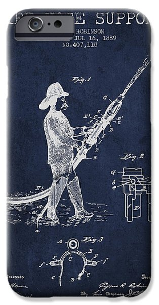 Gear iPhone Cases - 1889 Fire Hose Support Patent - navy blue iPhone Case by Aged Pixel