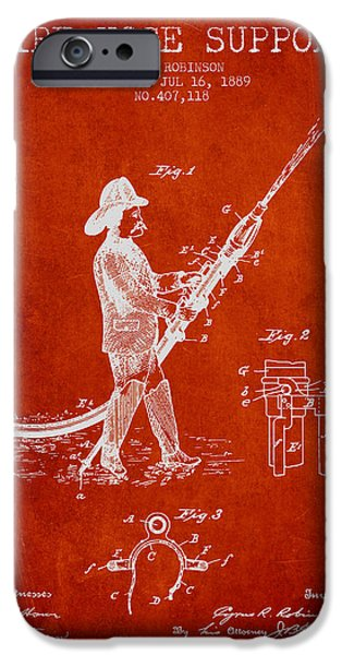 Gear iPhone Cases - 1889 Fire Hose Support Patent - red iPhone Case by Aged Pixel