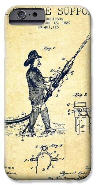 Gear iPhone Cases - 1889 Fire Hose Support Patent - vintage iPhone Case by Aged Pixel