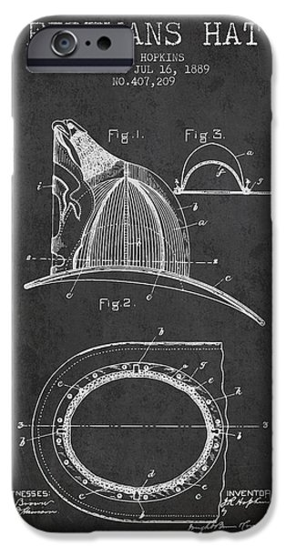 Gear iPhone Cases - 1889 Firemans Hat Patent - charcoal iPhone Case by Aged Pixel