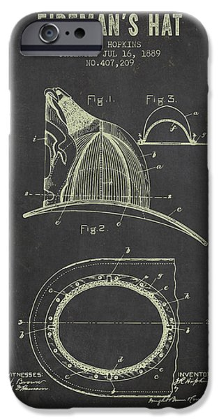 Gear iPhone Cases - 1889 Firemans Hat Patent - Dark Grunge iPhone Case by Aged Pixel