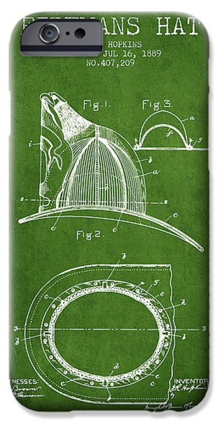 Gear iPhone Cases - 1889 Firemans Hat Patent - green iPhone Case by Aged Pixel