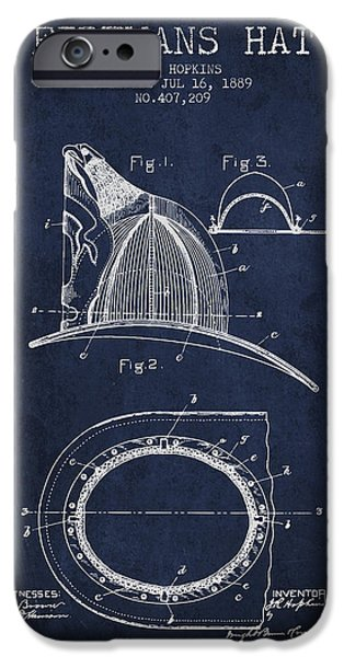 Gear iPhone Cases - 1889 Firemans Hat Patent - navy blue iPhone Case by Aged Pixel