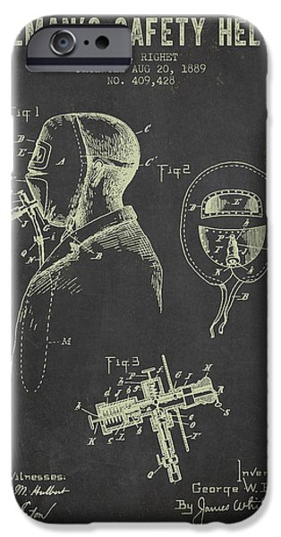 Gear iPhone Cases - 1889 Firemans Safety Helmet Patent - Dark Grunge iPhone Case by Aged Pixel