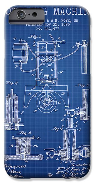Wine Bottle iPhone Cases - 1890 Bottling Machine patent - blueprint iPhone Case by Aged Pixel