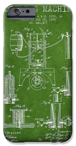 Wine Bottles iPhone Cases - 1890 Bottling Machine patent - green iPhone Case by Aged Pixel