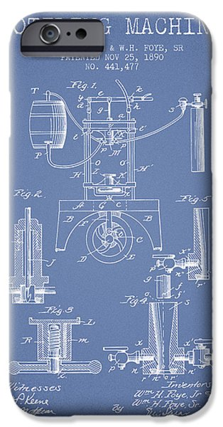 Wine Bottles iPhone Cases - 1890 Bottling Machine patent - light blue iPhone Case by Aged Pixel