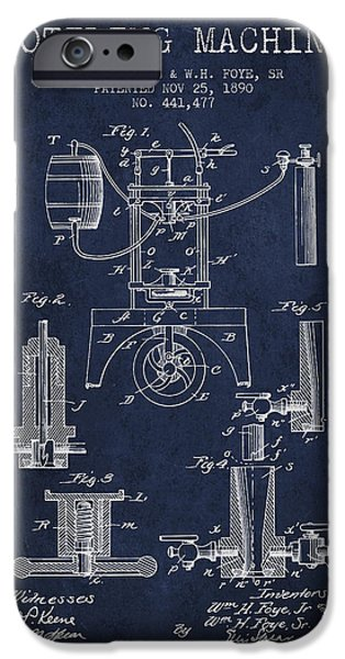 Wine Bottles iPhone Cases - 1890 Bottling Machine patent - navy blue iPhone Case by Aged Pixel