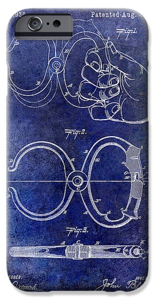 Police iPhone Cases - 1891 Handcuff Patent blue iPhone Case by Jon Neidert