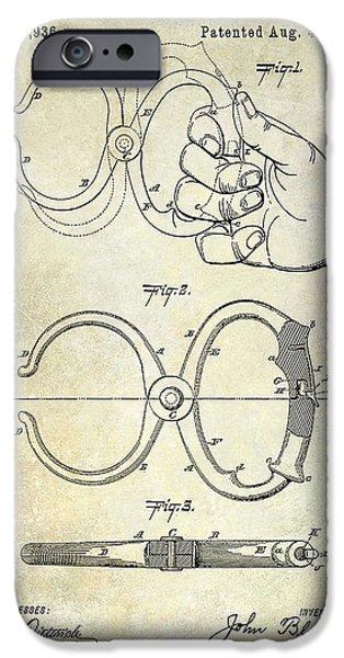 Police iPhone Cases - 1891 Handcuff Patent iPhone Case by Jon Neidert