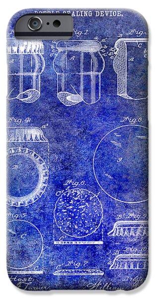 Stein iPhone Cases - 1892 Bottle Cap Patent Blue iPhone Case by Jon Neidert