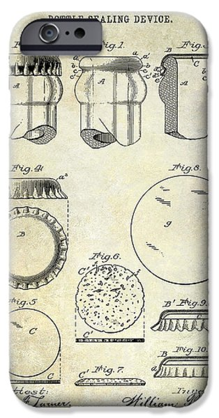 Stein iPhone Cases - 1892 Bottle Cap Patent  iPhone Case by Jon Neidert