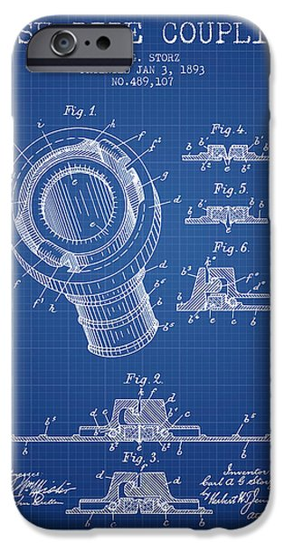 Gear iPhone Cases - 1893 Hose Pipe Coupling Patent - Blueprint iPhone Case by Aged Pixel