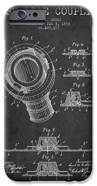 Gear iPhone Cases - 1893 Hose Pipe Coupling Patent - Charcoal iPhone Case by Aged Pixel