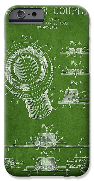 Gear iPhone Cases - 1893 Hose Pipe Coupling Patent - Green iPhone Case by Aged Pixel