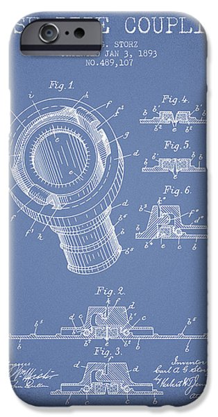 Gear iPhone Cases - 1893 Hose Pipe Coupling Patent - Light Blue iPhone Case by Aged Pixel