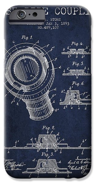 Gear iPhone Cases - 1893 Hose Pipe Coupling Patent - Navy Blue iPhone Case by Aged Pixel
