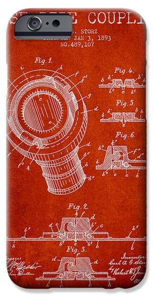 Gear iPhone Cases - 1893 Hose Pipe Coupling Patent - Red iPhone Case by Aged Pixel
