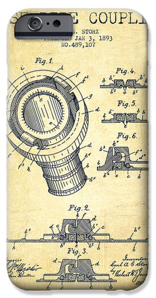 Gear iPhone Cases - 1893 Hose Pipe Coupling Patent - Vintage iPhone Case by Aged Pixel
