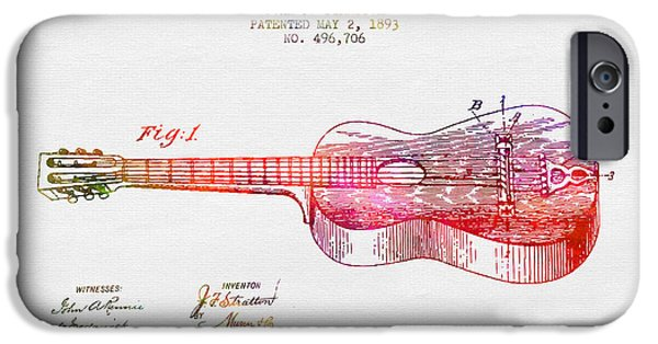 Electric Drawings iPhone Cases - 1893 Stratton guitar patent - color iPhone Case by Aged Pixel