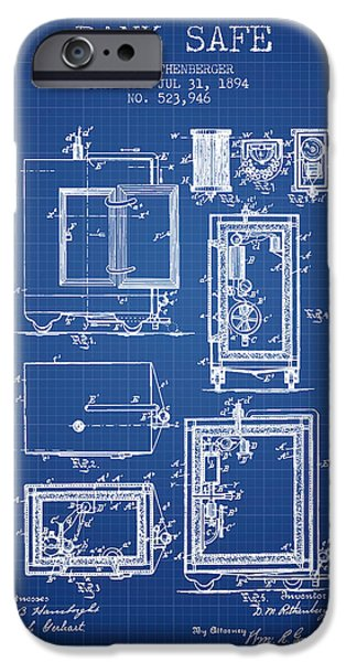 Banks iPhone Cases - 1894 Bank Safe Patent - blueprint iPhone Case by Aged Pixel
