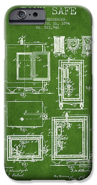 Banks iPhone Cases - 1894 Bank Safe Patent -green iPhone Case by Aged Pixel