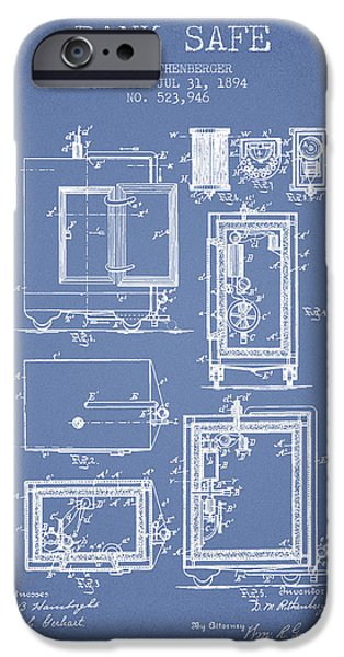 Banks iPhone Cases - 1894 Bank Safe Patent -light blue iPhone Case by Aged Pixel