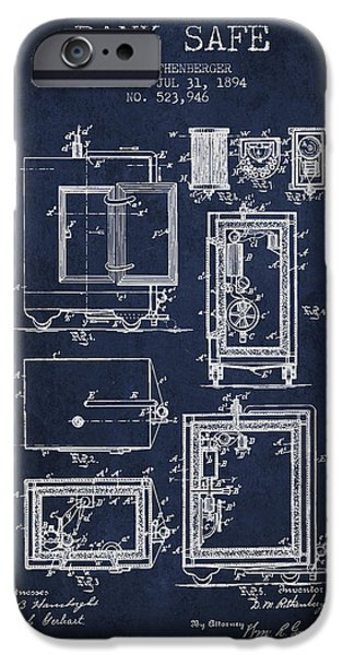 Banks iPhone Cases - 1894 Bank Safe Patent - navy blue iPhone Case by Aged Pixel