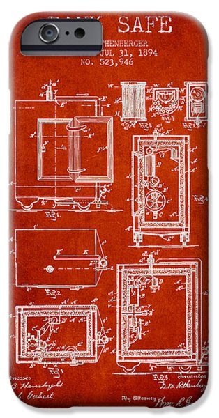 Banks iPhone Cases - 1894 Bank Safe Patent - red iPhone Case by Aged Pixel