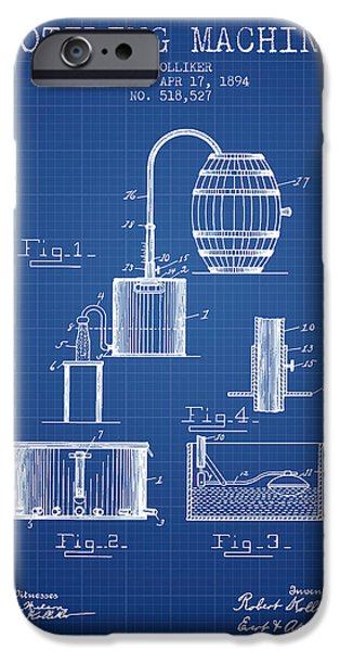 Wine Bottle iPhone Cases - 1894 Bottling Machine patent - Blueprint iPhone Case by Aged Pixel