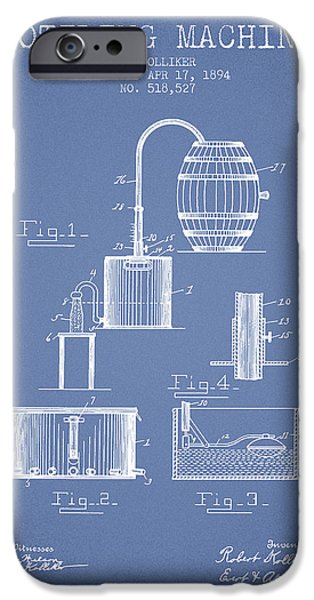 Wine Bottles iPhone Cases - 1894 Bottling Machine patent - light Blue iPhone Case by Aged Pixel