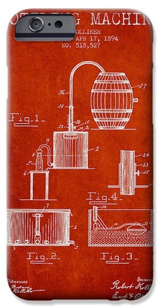 Wine Bottles iPhone Cases - 1894 Bottling Machine patent - red iPhone Case by Aged Pixel