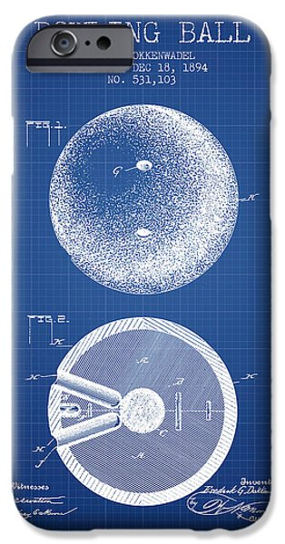 Alley iPhone Cases - 1894 Bowling Ball Patent - Blueprint iPhone Case by Aged Pixel