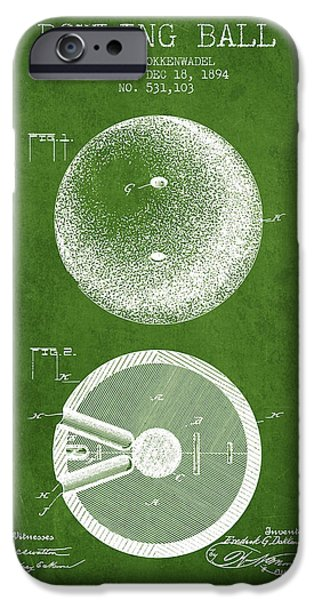 Carpet Drawings iPhone Cases - 1894 Bowling Ball Patent - Green iPhone Case by Aged Pixel