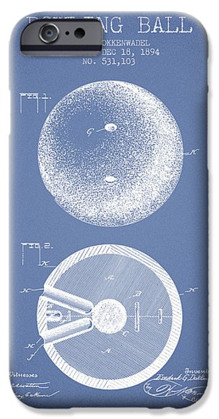 Carpet Drawings iPhone Cases - 1894 Bowling Ball Patent - Light Blue iPhone Case by Aged Pixel