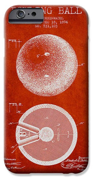 Carpet Drawings iPhone Cases - 1894 Bowling Ball Patent - Red iPhone Case by Aged Pixel