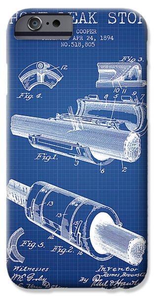 Gear iPhone Cases - 1894 Hose Leak Stop Patent - Blueprint iPhone Case by Aged Pixel