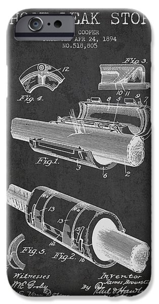 Gear iPhone Cases - 1894 Hose Leak Stop Patent - Charcoal iPhone Case by Aged Pixel