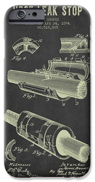 Gear iPhone Cases - 1894 Hose Leak Stop Patent- Dark Grunge iPhone Case by Aged Pixel