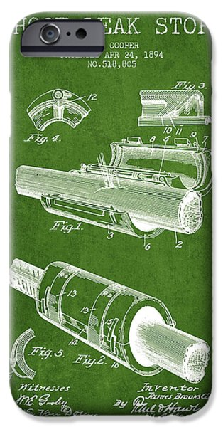 Gear iPhone Cases - 1894 Hose Leak Stop Patent - Green iPhone Case by Aged Pixel
