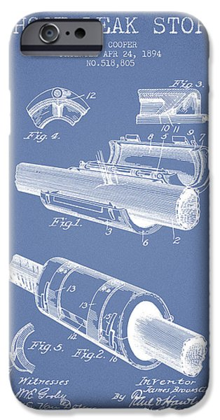 Gear iPhone Cases - 1894 Hose Leak Stop Patent - Light Blue iPhone Case by Aged Pixel