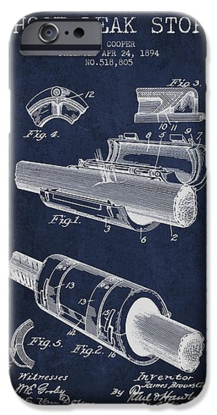 Gear iPhone Cases - 1894 Hose Leak Stop Patent - Navy Blue iPhone Case by Aged Pixel